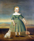 """AMERICAN SCHOOL """"Girl In Green Dress"""" bonnet dog CANVAS OR PAPER various SIZES"""