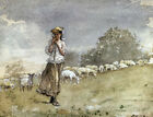 "WINSLOW HOMER ""Tending Sheep, Houghton Farm"" print choose your SIZE, from 55cm"