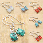 Choice Of Color ! Turquoise & Other Gems, 925 Silver Plated ART Earrings