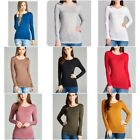Basic Long Sleeve Solid Top Womens Plain Cotton T-Shirt Stre