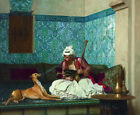 "JEAN-LEON GEROME ""Une Plaisanterie"" man smoking dog various SIZES available, NEW"