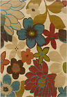Ivory Transitional Machine Made Flowers Leaves Petals Area Rug Floral 2040A