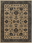 Beige Scrolls Curls Leaves Petals Traditional-European Area Rug Bordered 596I5