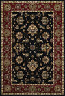 Black Traditional - Persian/Oriental Vines Leaves Area Rug Bordered 623M3