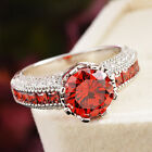 Womens Fashion Red Shiny Cubic Zirconia Cz Graceful Ring Engagement US 7 8 9