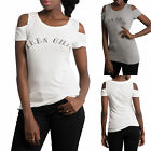 WOMEN'S RIBBED TOP OFF-SHOULDER Round Neck Long Blouse Fitted Stretchy S, M, L