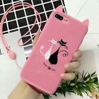 Cartoon Cute Cat Phone Back Case Cover With Strips For iPhone X 8 7 6 6S Plus