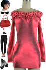 RED Stripe 50s Inspired On or Off Shoulder RUFFLE Detail Long Sleeve Top