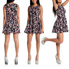 WOMEN'S BLACK FLORAL MINI DRESS Sleeveless Ladies Midi Summer Feel Skater UK6