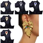 1Pair Leaf Shape Alloy Earring Jewelry Fashion Female Charm Valentine's Day Gift