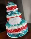3 Tier Diaper Cake - Teal Blue and Red w/ White Polka Dots Diaper Cake for Boys