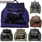 WOMENS NEW FAUX PATENT LEATHER CHAIN QUILTED DRAWSTRING RUCKSACK