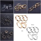 5pcs Charm Stylish Fashion Women Punk Alloy Golden White Rings Stacking Ring Set
