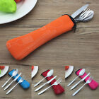 3pcs Portable Stainless Steel Foldable Fork Spoon Knife Travel Camping Cutlery
