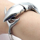 Men's Heavy Biker Stainless Steel Shark Chain Bracelet Bangle