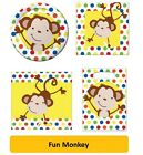 FUN MONKEY Birthday Party Range - Tableware & Decorations {Creative} Animal (1C)