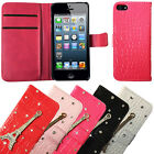 Diamante Jewel Bling Leather Magnetic Flip Wallet Case Cover For iPhone SE/5S/5