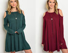 Women's Sweater Dress Cold Shoulder Long Sleeve A-Line Tunic Loose Boho S M L
