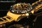 NEW Invicta Mens 18K Gold Plated Stainless Steel Black Dial Tachymeter Watch !!