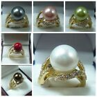 Fashion Women's 12mm South Sea Shell Pearl  Jewelry Ring Size 6 7 8 9  k04