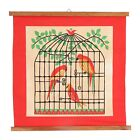 A small retro wall hanging Parrots in a cage 1950's - 1960's Red