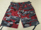 NWT Men's Ablanche Red Gray Camouflage Camo Belted Cargo Shorts ALL SIZES