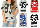 New Womens Ladies American Varsity Striped Oversize Baggy Style T-Shirt Top 8-14
