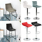 Set Of 2 Pub Bar Stools Adjustable Swivel PU Leather Seat Dining Counter Chair