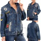WOMEN'S RIPPED ARMY BADGES JACKET Denim Loose Distressed Jeans Coat SIZE S M L