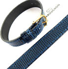 14mm 1 PIECE CABOUCHON WATCH STRAP. NAVY BLUE LIZARD GRAIN LEATHER REGULAR