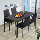 Kitchen 4/6 Seater High Gloss Glass Dining Table Set And Leather Dinning Chairs