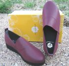 NEW Ladies Yellow Box Erma Burgundy Shimmery Flats Slip On Shoes Style 34101