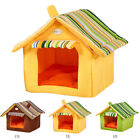 Removable Washable Dog Cat House with Striped Cover Soft Mat Beds Pet Supplies