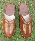 MENS 100% MOROCCAN LEATHER BACKLESS MULES * SLIP ON'S* BROWN* LEATHER SOLES