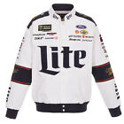 2018 Brad Keselowski JH Design Miller Lite Full Snap Cotton Uniform Jacket White