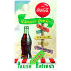 Coca-Cola Wherever You Go Pause Here Refresh Wall Decal Vintage Style $19.99  on eBay