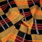 Veritable Wax Dyed Cotton Kente Cloth, Gold Orange Black & Burgundy