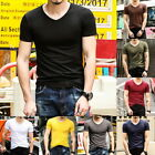 Fashion Mens' Summer Casual Short Sleeve T-Shirts V-Neck Slim T-ShirtS Solid Tee