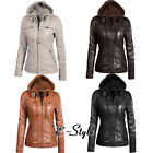 brown leather jacket outfits - Hooded Jacket Women Leather Coat Windproof Women Outwear Basic Outfit