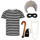 CHILDRENS KIDS GIRLS 6PC GRANNY STRIPED FANCY DRESS COSTUME OUTFIT BOOK WEEK DAY