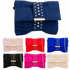 New Ladies Bow Shape Studded Faux Suede Party Clutch Bag Handbag