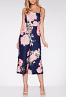 QUIZ NAVY AND PINK FLORAL PRINT CULOTTE JUMPSUIT SIZE 8