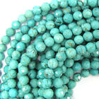"Faceted Blue Turquoise Round Beads Gemstone 15.5"" Strand 4mm 6mm 8mm 10mm 12mm"