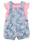 Carter's Baby Girl Shortalls Light Blue w/Pink Top Choose Sizes 3-24 Months