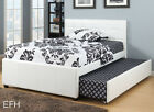 NEW ADENA MODERN WHITE BYCAST LEATHER TWIN or FULL PLATFORM BED W/ TWIN TRUNDLE
