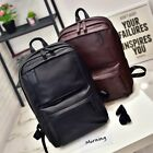 US Men Women Leather Backpack Laptop Satchel Travel School Shoulder Bag Rucksack