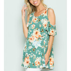 WOMENS PLUS SIZE MINT FLORAL TOP BABY DOLL OPEN SHOULDER 1X 2X OR 3X