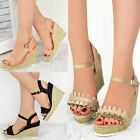 Womens Ladies Wedge High Heels Sandals Platforms Frilly Summer Party Shoes Size