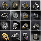 Heavy Stainless Steel Gothic Punk Biker Rings Fashion Mens Skull Jewelry US 8-14