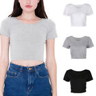 Solid Scoop Neck Basic Deep Back Short Sleeve Cropped Belly Tee Shirts Tops USA